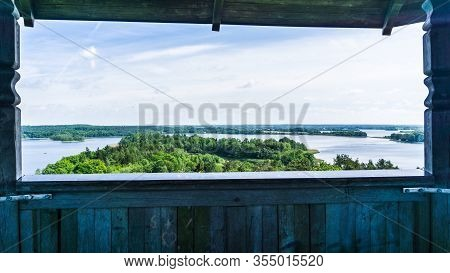 View From Observation Tower Over Landscape Around Krakow Am See And Lake Krakower See