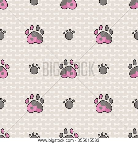 Hand Drawn Cute Spotty Puppy Dog Paw And Pink Paw Seamless Vector Pattern. Wild Animal Paw Pad Backg