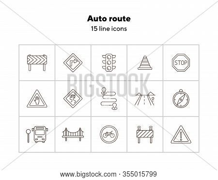 Auto Route Icons. Set Of Line Icons. Bridge, Traffic Lights, Stop Road Sign. Traffic Concept. Vector