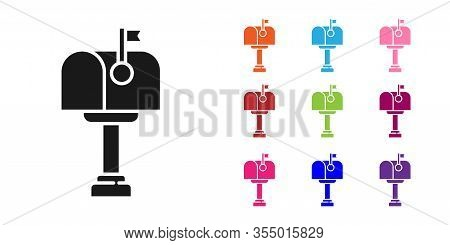 Black Mail Box Icon Isolated On White Background. Mailbox Icon. Mail Postbox On Pole With Flag. Set