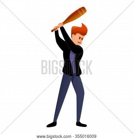 Violent Man Baseball Bat Icon. Cartoon Of Violent Man Baseball Bat Vector Icon For Web Design Isolat