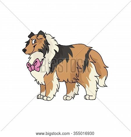 Cute Cartoon Rough Collie With Pink Bow Dog Vector Clipart. Pedigree Kennel Sheepdog For Dog Lovers.