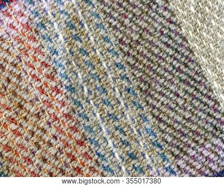 Close-up Of A Colorful Woolen Plaid. Woolen Checkered Plaid.