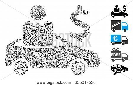 Line Mosaic Based On Car Buyer Icon. Mosaic Vector Car Buyer Is Composed With Random Line Items. Bon