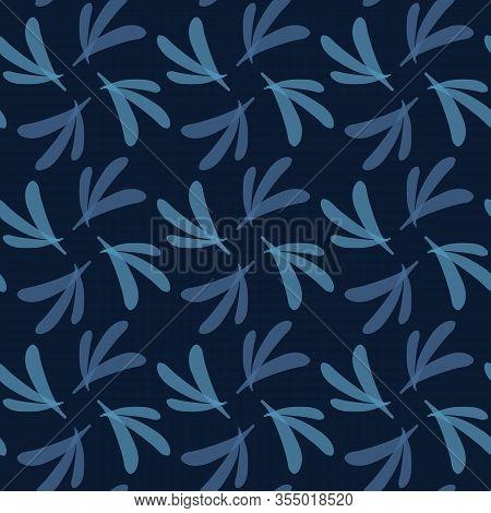 Dark Classic Blue Simple Swirl Leaf Grid Vector Texture Seamless Pattern. Variegated Soft Blended Ge