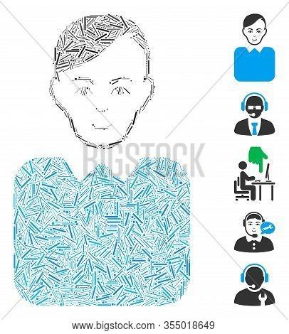 Line Mosaic Based On Bureaucrat Icon. Mosaic Vector Bureaucrat Is Composed With Randomized Line Elem