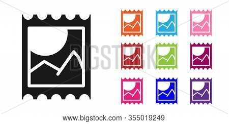 Black Lsd Acid Mark Icon Isolated On White Background. Acid Narcotic. Postmark. Postage Stamp. Healt