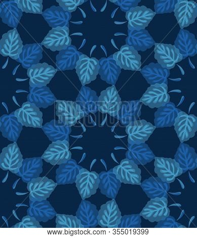 Dark Classic Blue Watercolor Leaf Wreath Vector Texture. Seamless Dyed Pattern. Variegated Soft Blen