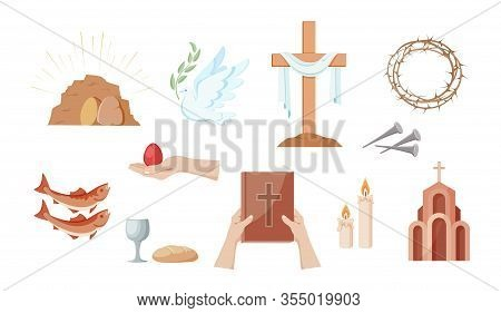 Religious Christian Symbols And Signs. Set  Icons Crown Of Thorns, Church, Cross, Fish,  Bread And C
