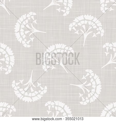 Gray French Linen Texture Background Printed With White Carnation Motif. Natural Ecru Antique Medall