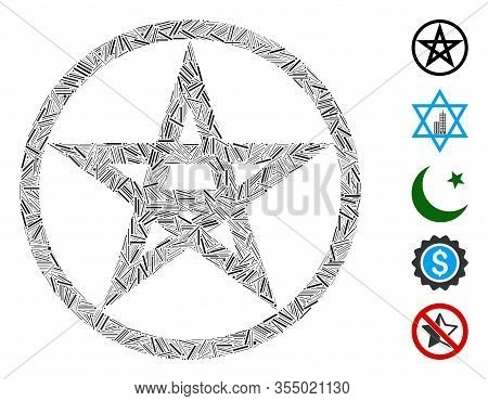 Hatch Mosaic Based On Star Pentacle Icon. Mosaic Vector Star Pentacle Is Designed With Scattered Hat