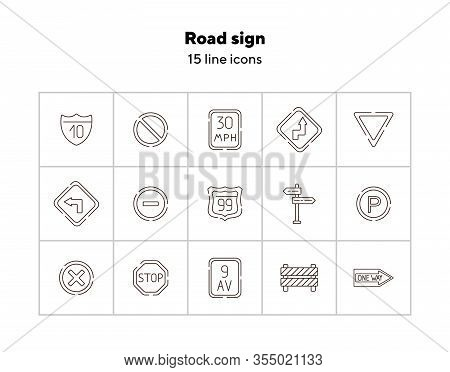 Road Sign Icon Set. Access Denied, Yield Ahead, Reverse Turn. Road Sign Concept. Vector Illustration