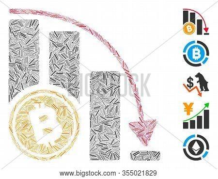 Dash Mosaic Based On Bitcoin Falling Acceleration Chart Icon. Mosaic Vector Bitcoin Falling Accelera