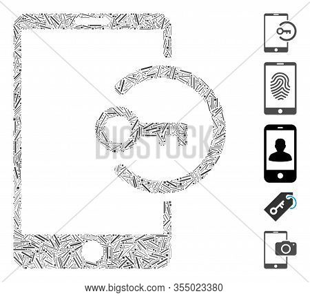 Line Mosaic Based On Key Login Smartphone Icon. Mosaic Vector Key Login Smartphone Is Formed With Ra