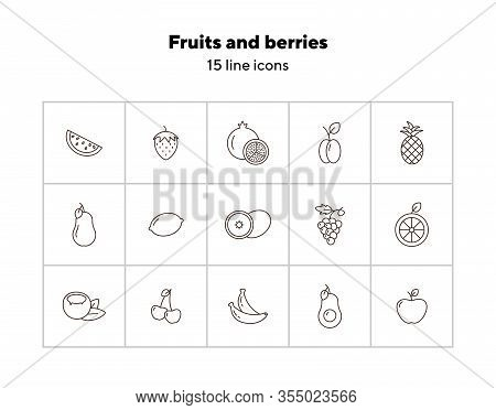 Fruits And Berries Icons. Set Of Line Icons On White Background. Watermelon, Peach, Strawberry. Heal