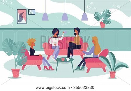Female Friendly Informal Meeting For Refreshment And Talk. Cartoon Women People Characters Having Co