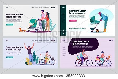 Happy Parents Leisure Time Set. Parents And Kids Riding Bikes, Wheeling Strollers. Flat Vector Illus