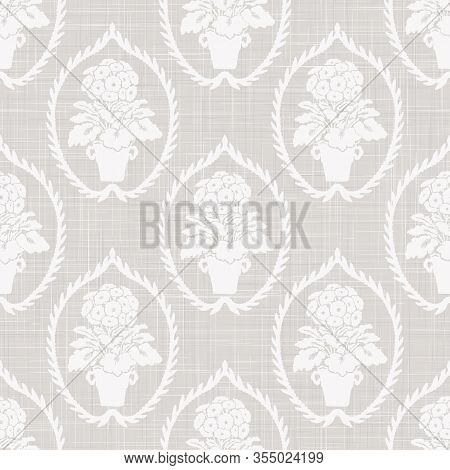 Gray French Linen Texture Background Printed With White Primrose Motif. Natural Ecru Antique Medalli