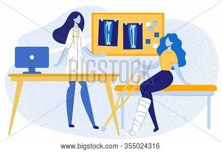 Doctor Consulting Girl With Gypsum On Leg At Hospital Flat Cartoon Vector Illustration. Woman Talkin