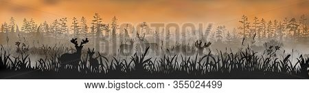 The Family Of Deers Stands On The Grass Field In Front Of The Foggy Morning Forest. Vector Long Side