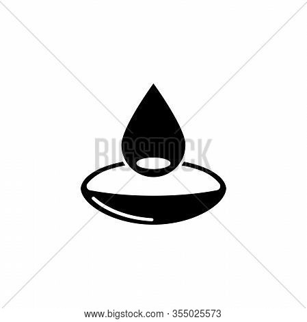 Contact Lens In Water Droplet. Flat Vector Icon Illustration. Simple Black Symbol On White Backgroun