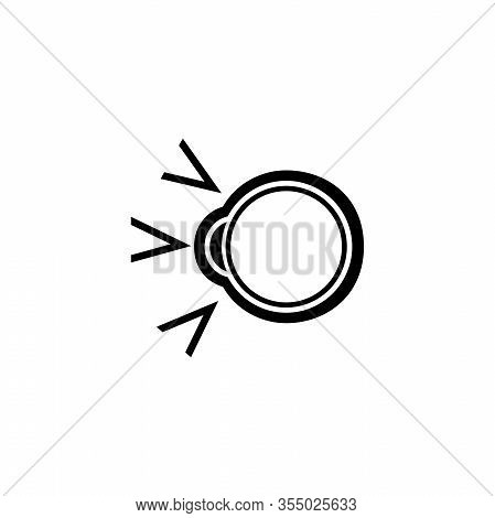 Human Eyeball, Cataract Treatment. Flat Vector Icon Illustration. Simple Black Symbol On White Backg