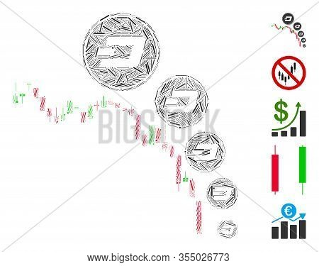Line Mosaic Based On Candlestick Chart Dashcoin Deflation Icon. Mosaic Vector Candlestick Chart Dash