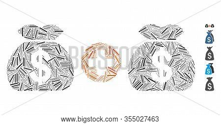 Hatch Mosaic Based On Add Money Bags Icon. Mosaic Vector Add Money Bags Is Composed With Scattered L