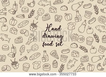 Hand Drawing Food Set, Sketch Style For Restaurant´s Menu