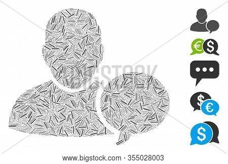 Hatch Mosaic Based On User Hint Balloon Icon. Mosaic Vector User Hint Balloon Is Formed With Randomi