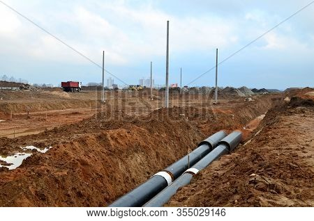 Laying Underground Storm Sewers At A Construction Site. Groundwater System For New Residential Build