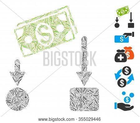 Line Mosaic Based On Cash Flow Icon. Mosaic Vector Cash Flow Is Composed With Random Line Dots. Bonu