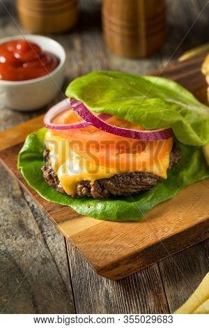 Healthy Hamburger In A Lettuce Bun