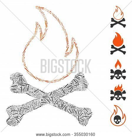 Hatch Mosaic Based On Bones Hell Fire Icon. Mosaic Vector Bones Hell Fire Is Designed With Scattered