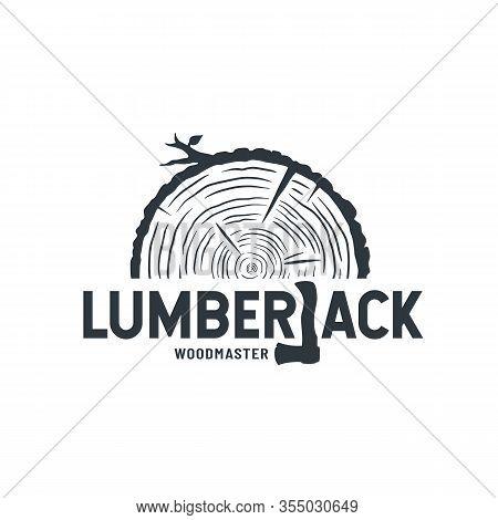 Emblem Of Lumber Wood With Axe Lumberjack