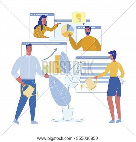 Startup Growth Potential Assessment, Cartoon. Vector Illustration. Man And Woman Are Discussing Onli