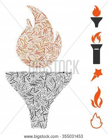 Hatch Mosaic Based On Fire Torch Icon. Mosaic Vector Fire Torch Is Formed With Random Hatch Elements