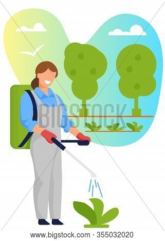 Woman Agriculturist Spraying Pesticides, Insecticide Or Fertilizers On Farm Plants. Farmer Use Chemi