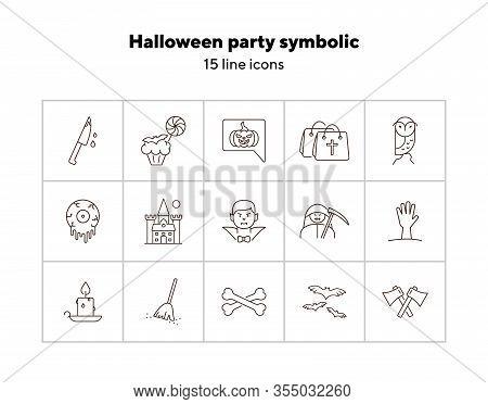 Halloween Party Symbolic Icons. Bats, Melting Eye, Sweeping Broom. Halloween Concept. Vector Illustr
