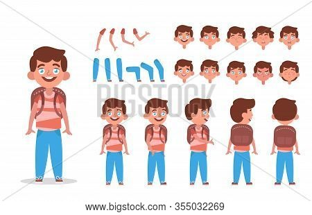 Little Boy Character Constructor For Animation With Various Views, Poses, Gestures, Hairstyles And E