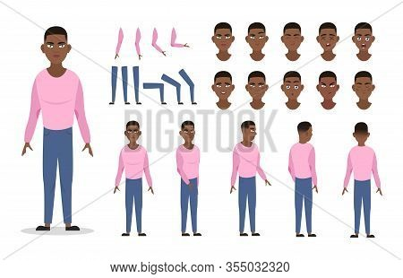 Man Character Constructor For Animation With Various Views, Poses, Gestures, Hairstyles And Emotions