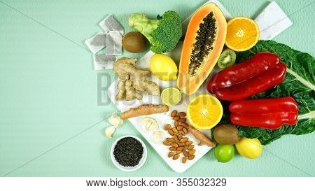 Foods That Boost The Immune System Including Fruit, Vegetables And Poultry.