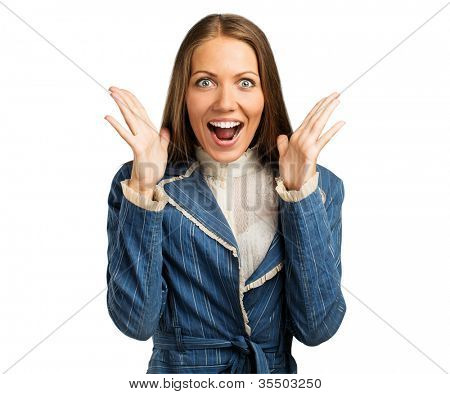 Beautiful businesswoman screaming in panic isolated on white