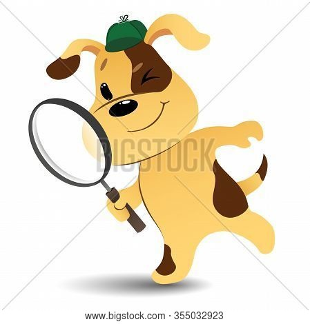 Funny Cartoon Detective Dog Looking For Items With A Magnifying Glass On White Background. Vector Il
