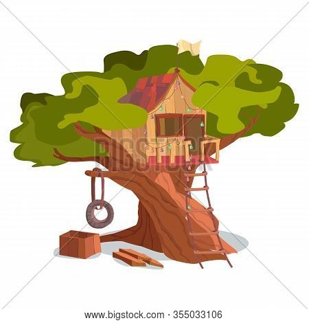 Wooden House On Tree Exterior. Treehouse Building Construction Vector Illustration. Game Playhouse I