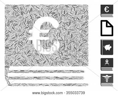 Line Mosaic Based On Euro Bookkeeping Book Icon. Mosaic Vector Euro Bookkeeping Book Is Composed Wit