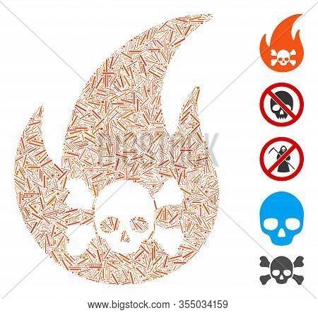 Dash Mosaic Based On Hellfire Icon. Mosaic Vector Hellfire Is Formed With Random Dash Spots. Bonus I