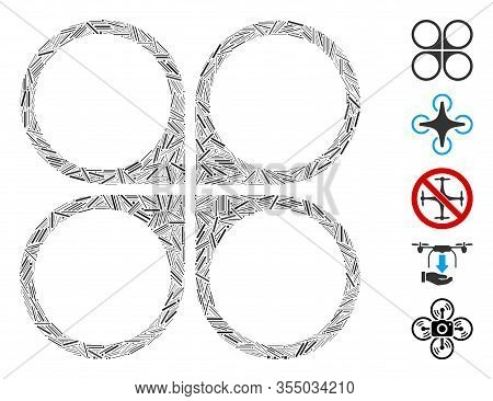 Line Mosaic Based On Air Copter Icon. Mosaic Vector Air Copter Is Formed With Random Line Dots. Bonu