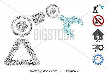 Hatch Collage Based On Robotics Manipulator Icon. Mosaic Vector Robotics Manipulator Is Designed Wit