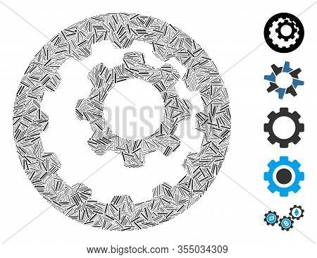 Dash Mosaic Based On Internal Gears Icon. Mosaic Vector Internal Gears Is Composed With Random Dash